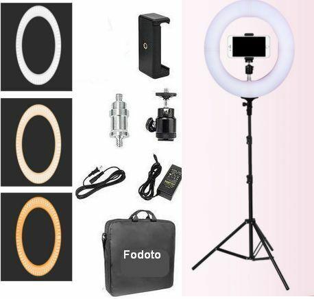 """Fodoto 14"""" Bi-color LED Ring Light Kit For Social Media & Beauty Shoot"""