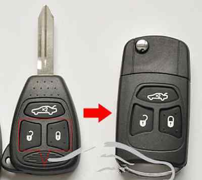 Chrysler Jeep Cherokee 3 Button flip fob Remote Key Shell case new style