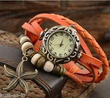 VINTAGE RETRO BEADED BRACELET LEATHER WOMEN WRIST WATCH - STARFISH ORANGE