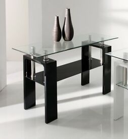 Calico Console Table BLACK and GLASS classy bargain! Office or Home