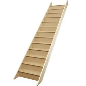 Howdens Standard Stairs with Risers - 12 Treads Height 260cm Length 290cm Width 86cm