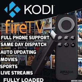 Amazon firestck KODI, FULLY LOADED, sports, movies tv auto updating MEGA BUILD