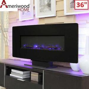 "NEW 36"" WALL MOUNT FIREPLACE 1907872CACOM 219575135 ASTRAFLAME CURVED BLACK"