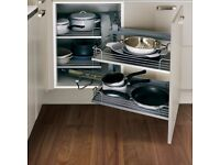 Howdens 1000m kitchen base cabinet with RH opening pull out shelves