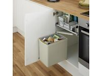 Grey Single compartment 16 litre under cupboard bin