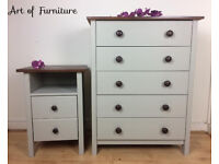 Pine Rustic Chest Of Drawers & Bedside Table Hand Painted in Light Olive Mineral Paint Upcycled