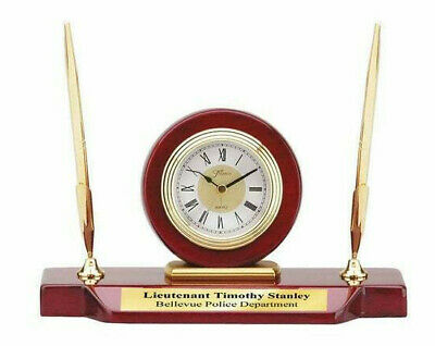 Desk Clock Double Pen Set Clock Cherry Wood Base Personalized Gifts Awards Grads