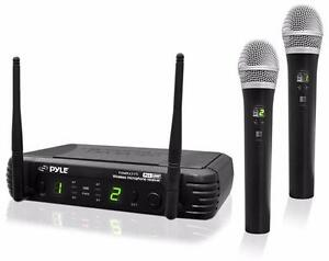 PylePro PDWM3375 Premier Series 8-Channel UHF Wireless Dual Handheld Microphone Selectable Frequencies