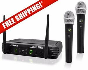 PylePro PDWM3375 Premier Series 8-Channel UHF Wireless Dual Handheld Microphone Selectable Frequencies (sale)