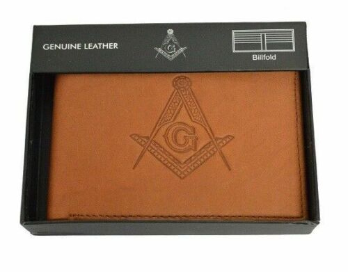 Masonic Tan Leather Bi-Fold RFID Wallet - Mason Embossed Square and Compasses