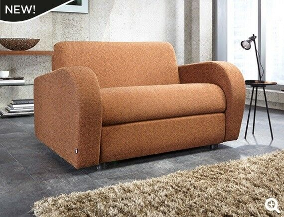 Retro Sofa Bed Chair With Deep Sprung Mattress Tan In