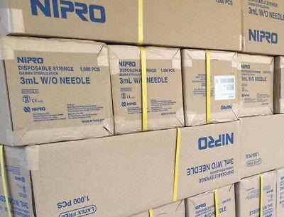 1000 Nipro 3cc Syringe Luer Lock Tip Syringe 3ml Sterile Syringe Only No Needle