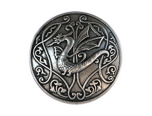 3 Draco Dragon 3/4 inch (20 mm) Metal Shank Buttons Silver Color