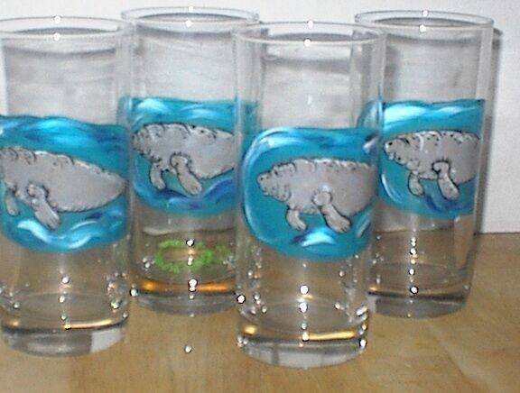 HAND PAINTED MANATEE 15 OUNCE  TUMBLER/COOLERS SET OF 4/MADE IN THE USA