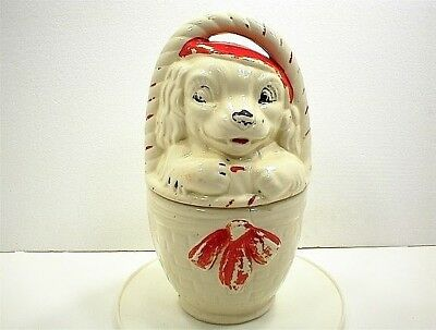 VINTAGE AMERICAN BISQUE DOG IN BASKET COOKIE JAR & LID USA WHITE