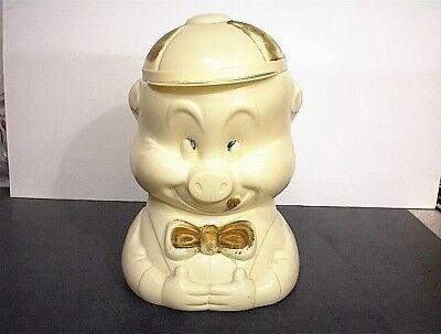 COOKIE JAR PORKY PIG VINTAGE WARNER BROS CHARACTER PLASTIC BISCUIT CRACKER