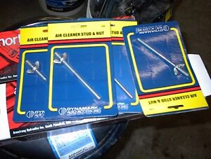 """4 NEW SETS OF 6"""" LONG 1/4"""" AIR CLEANER STUDS WITH WING NUTS $5E"""