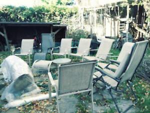 Ensemble de patio extérieur, 8 chaises, 2 tables, 2 reposes pied