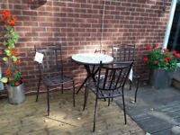 Blooma 4 Seater Garden/ Patio Metal Set - Table + 4 Chairs