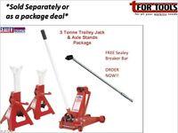 "Sealey 3010CX Trolley Jack 3ton + Axle Stands + AK730 Breaker Bar 600mm 1/2""sq"