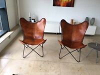 2x Leather butterfly chairs - tan leather