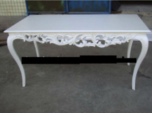 White High Gloss Carved Dining Table