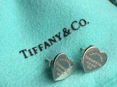 """Tiffany & Co. """"Return to Tiffany"""" Mini Heart Earrings w/ Pouch, .925 Silver,"""
