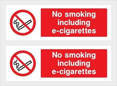 NO SMOKING Including e-Cigs Sign Self Adhesive Sticker Car Taxi Bus Cab 75x100mm