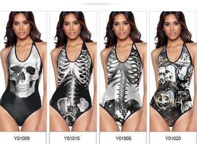 Swimsuit Skull & Skeleton Printed One Piece Monokini Halter Backless - One Piece Skeleton