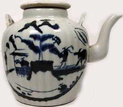 Antique 19thC Blue + White Ming Style Porcelain Teapot Water Buffalo Farm Motif