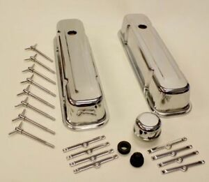 set de valve covers chrome avec vis pontiac
