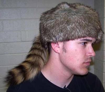 ADULT REAL RACCOON TAIL HAT fur animal tail cap boone costume rendezvous pelt - Raccoon Tail Costume