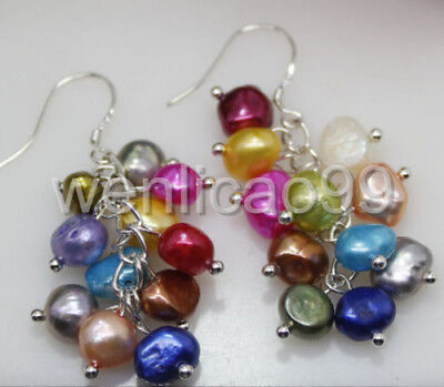 7-8mm Natural Freshwater Pearl Leverback Drop Earring AAAA NEW pair multicolor