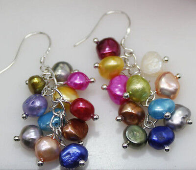 NEW pair multicolor 7-8mm Natural Freshwater Pearl Leverback Drop Earring AAAA