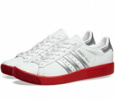 bnib ADIDAS FOREST HILLS UK 8  White / Silver / Scarlet red spzl BD7622