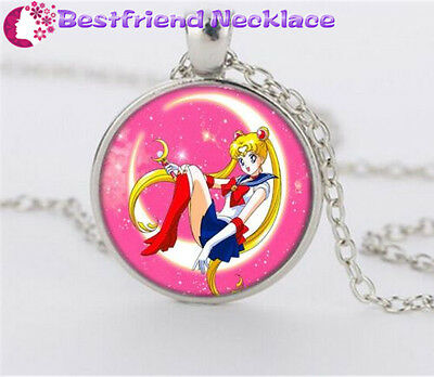 NEW Silver Anime Sailor Moon Jewelry Glass Dome Pendant Necklace#NS8