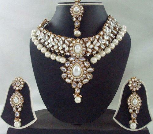 Indian Gold Plated Stones Kundan Necklace Earrings Party: Kundan Necklace