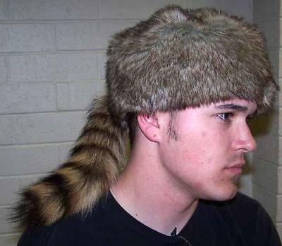 Adult Raccoon Costume (ADULT REAL RACCOON TAIL HAT fur caps animal daniel boone rendevous pelt)