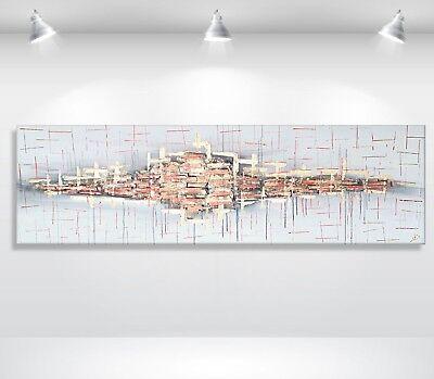 MK1 Art Bild Leinwand abstraktes Gemälde Kunst Malerei Bilder XXL Acryl grau