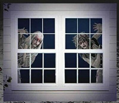 Halloween Window decorations 2 with walking dead girls for 2 window trim to fit](Halloween Decorations For Windows)