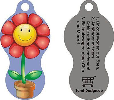 Flora Einkaufswagenchip Metall EDELSTAHL - Schlüsselanhänger - sofort abziehbar