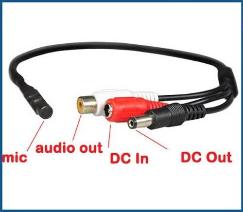 10Pcs Mini Audio Spy Microphone for CCTV Security Camera System with Power Cable