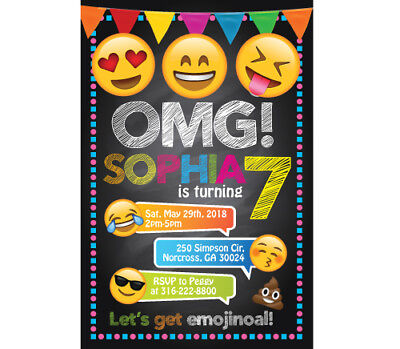 Emoji Personalized Custom Birthday Party Digital Invitation Printable Emojis Custom Printable Birthday Invitations