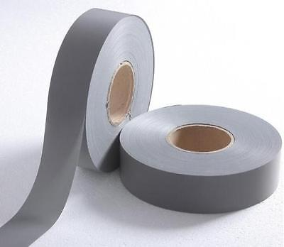10m Visiblility Grey Reflective Tape Safety Conspicuity Sew On Trim Fabric 50mm