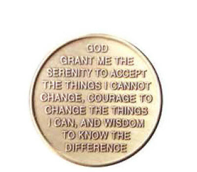 Circle Triangle Serenity Prayer Bronze Recovery Medallion Coin Chip AA