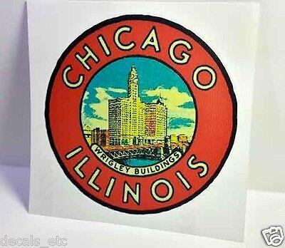 Chicago Illinois Vintage Style Travel Decal / Vinyl Sticker, Luggage Label