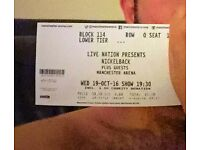 2 x Nickelback tickets, seated for Manchester Arena 19/10/16