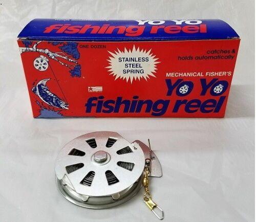1 DZ YOYO AUTOMATIC FISHING REELs, BOX OF 12 YOYOS (MECHANICAL FISHERS)