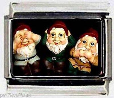 GARDEN GNOMES Hear See Speak no EVIL Italian 9mm Photo Charms for bracelets