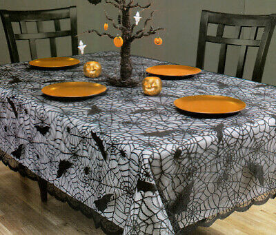 Halloween Rectangle Tablecloth 52 x 70 Spider Web Black Lace Scalloped Edges](Halloween Scallops)
